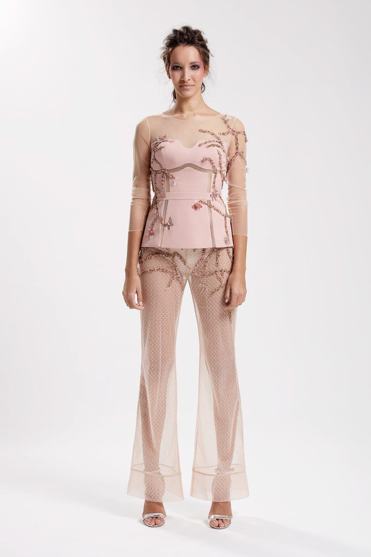 Transparan işlemeli top, yüksek bel dantel İspanyol paça pantolon rose