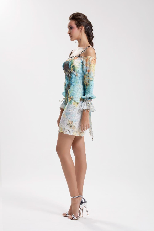Tasarım baskılı, düşük kol, işlemeli mini elbise Turkuaz